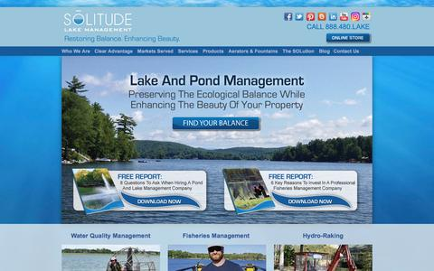 Screenshot of Home Page solitudelakemanagement.com - SOLitude Lake Management: Full-Service Lake And Pond Management - captured July 26, 2018
