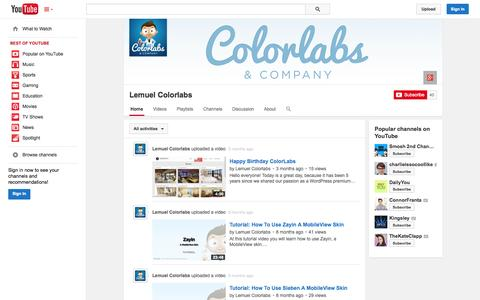 Screenshot of YouTube Page youtube.com - Lemuel Colorlabs  - YouTube - captured Oct. 29, 2014