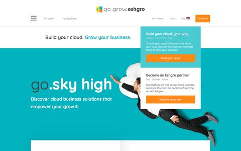 Screenshot of Home Page eshgro.com - Go Grow. Eshgro | Cloud Services Business - captured Feb. 16, 2018