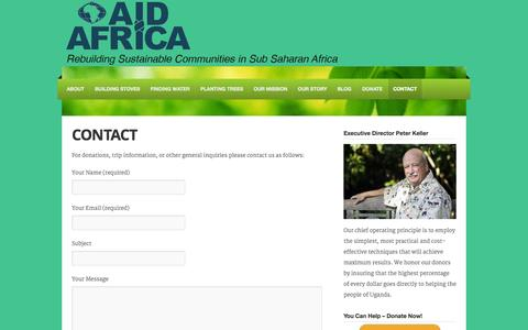 Screenshot of Contact Page aidafrica.net - Contact | Aid Africa - captured Sept. 30, 2014