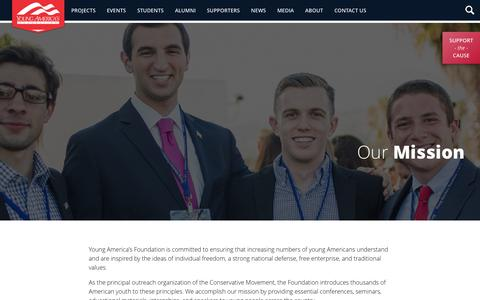 Screenshot of About Page yaf.org - About - Young America's Foundation - captured Nov. 28, 2016