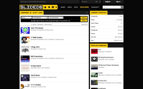Screenshot of Developers Page slidedb.com - Companies - Slide DB - captured Nov. 4, 2014