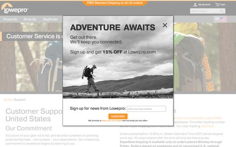 Screenshot of Support Page lowepro.com - Lowepro | Support - captured Oct. 28, 2017