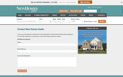Screenshot of Contact Page newhomesguide.com - Contact New Homes Guide - captured Sept. 6, 2016