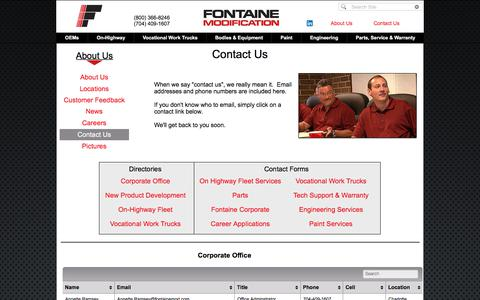Screenshot of Contact Page fontainemodification.com - Fontaine Contact Us - captured Aug. 19, 2018