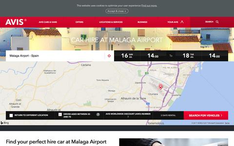 Screenshot of avis.co.uk - Car hire at Malaga Airport with Avis premium car rentals - Avis Office - captured July 16, 2017