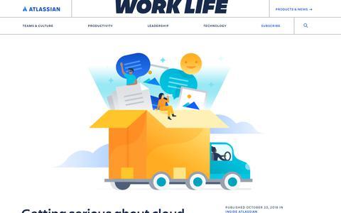 Screenshot of Blog atlassian.com - Getting serious about cloud migration - Work Life by Atlassian - captured Feb. 8, 2020