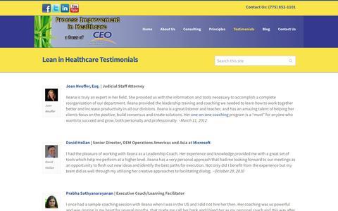 Screenshot of Testimonials Page theleaninhealthcare.com - Lean in Healthcare | Testimonials | Lean Consulting | Training - captured Jan. 3, 2017