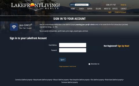 Screenshot of Login Page lakefrontliving.com - Lakefront Living Realty - Lakefront Real Estate - captured Sept. 27, 2018