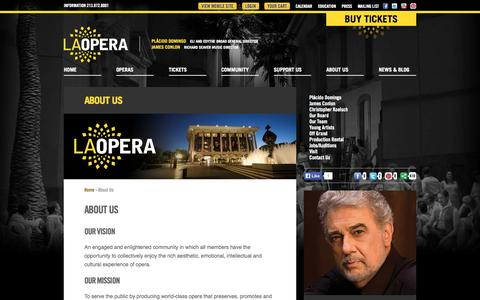 Screenshot of About Page laopera.org - LA Opera - About Us - captured Sept. 23, 2014