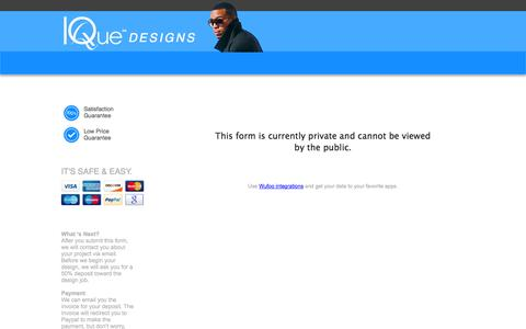 Screenshot of Pricing Page iquedesigns.com - Graphic Design Order   IQue Designs - captured Sept. 30, 2014