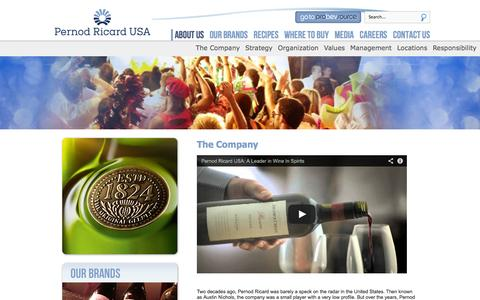 Screenshot of About Page pernod-ricard-usa.com - About us - captured Sept. 29, 2014