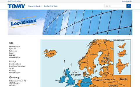 Screenshot of Locations Page tomy.com - Locations | TOMY UK - captured Sept. 21, 2018