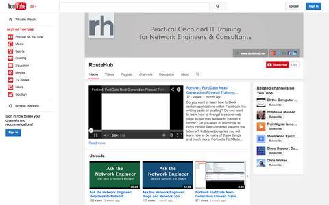 Screenshot of YouTube Page youtube.com - RouteHub  - YouTube - captured Oct. 25, 2014