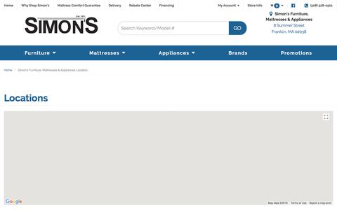 Screenshot of Contact Page Locations Page simonfurniture.com - Furniture, Mattresses and Appliances in Franklin, Wrentham and Norfolk MA | Simon's Furniture, Mattresses & Appliances - captured Feb. 12, 2018