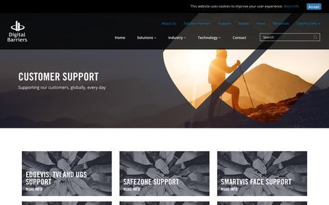 Screenshot of Support Page digitalbarriers.com - Support | Video Surveillance & Security | Digital Barriers - captured Sept. 25, 2018