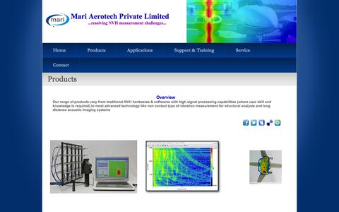 Screenshot of Products Page mariaero.com - Products - captured Oct. 27, 2014