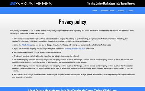 Screenshot of Privacy Page nexusthemes.com - Privacy policy - Premium WP themes - captured Aug. 13, 2016