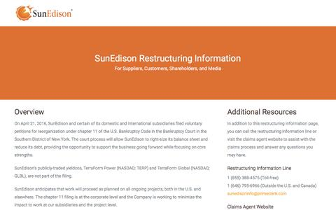 Screenshot of Home Page sunedison.com - SunEdison – Restructuring Updates - captured Nov. 10, 2017