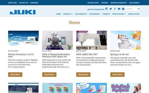 Screenshot of Press Page jukihome.com - Juki Quilting Machines   JukiQuilting.com - captured Dec. 20, 2018