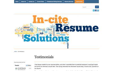 Screenshot of Testimonials Page inciteresume.com - Testimonials « In-cite - captured Oct. 6, 2014