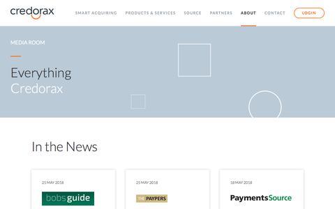 Screenshot of Press Page credorax.com - Media Room | Credorax | Smart Acquiring - captured July 13, 2018