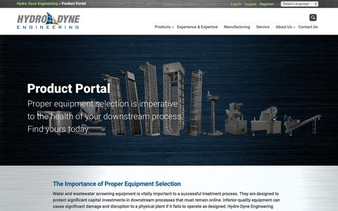 Screenshot of Products Page hydro-dyne.com - Product Portal |  Hydro-Dyne Engineering - captured Feb. 2, 2016