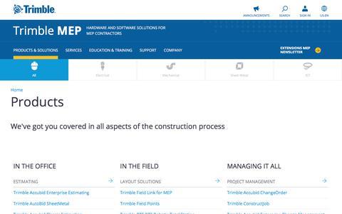 Screenshot of Products Page trimble.com - Products | Trimble MEP - captured June 17, 2017