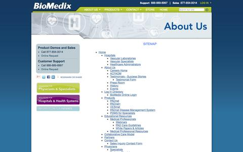 Screenshot of Site Map Page biomedix.com - BioMedix - Sitemap - captured Sept. 13, 2014