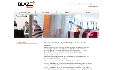 Screenshot of Privacy Page blazeahead.co.uk - Privacy Policy | Blaze Ahead - captured Oct. 5, 2014