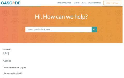 Screenshot of FAQ Page executestrategy.net - FAQ - Knowledge Base - captured Nov. 30, 2016