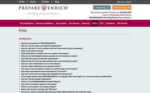 Screenshot of FAQ Page prepare-enrich.com.au - FAQs - Prepare-Enrich Australia - The leading relationship inventory and skill-building program - captured Sept. 25, 2018