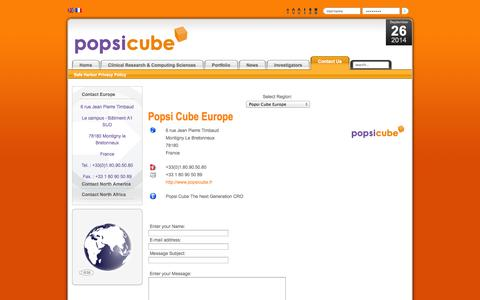 Screenshot of Contact Page popsicube.com - Contact Us - captured Sept. 26, 2014