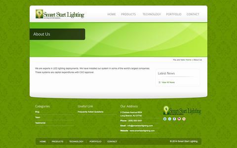 Screenshot of About Page smartstartlighting.com - About Us - Smart Start Lighting - captured Oct. 26, 2014