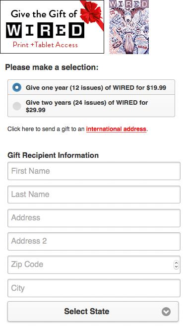 Wired Magazine Gift Subscription