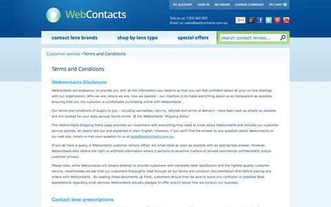 Screenshot of Privacy Page Terms Page webcontacts.com.au - Terms and Conditions of use of Webcontacts.com.au contact lens store - captured Oct. 26, 2014