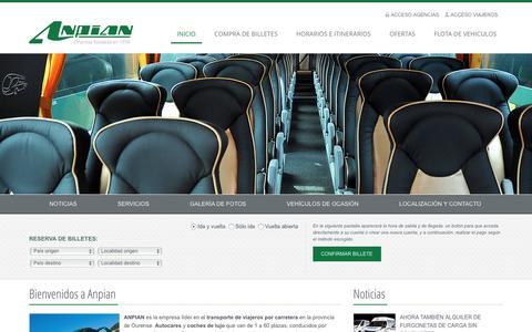 Screenshot of Home Page anpian.com - ANPIAN - Transporte internacional de viajeros y alquiler de autobuses - captured March 25, 2017
