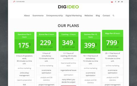 Screenshot of Pricing Page digideo.co - Pricing - Digideo - captured Jan. 16, 2016