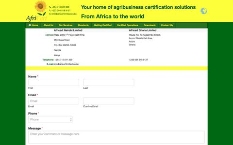Screenshot of Contact Page africertlimited.co.ke - Contact Us - agribusiness certification company in kenya,AfriCert Ltd - captured July 29, 2018