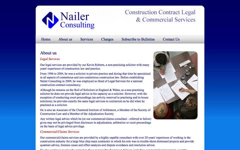 Screenshot of About Page nailerconsulting.com - Nailer Consulting provides a wide range of legal, contractual and commercial advisory services - captured Oct. 27, 2014