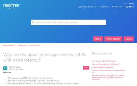 Why do multipart messages receive DLRs with extra latency? – Knowledgebase