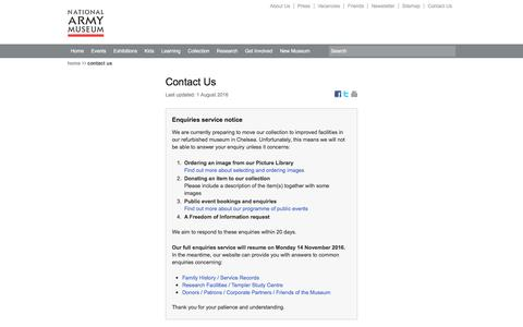 Screenshot of Contact Page nam.ac.uk - Contact Us   National Army Museum, London - captured Nov. 11, 2016