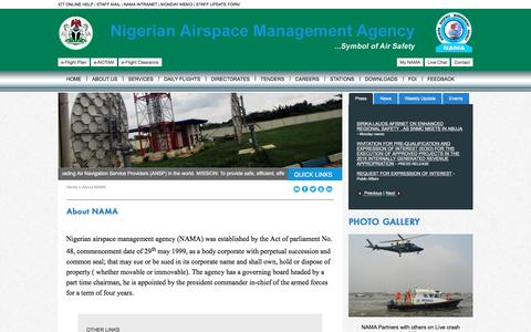 Screenshot of About Page nama.gov.ng - NAMA: Nigerian Airspace Management Agency - captured Nov. 30, 2016