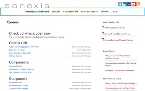 Screenshot of Jobs Page sonexis.com - Sonexis Careers in Audio, Web & Video Conferencing Products & Services - captured Feb. 17, 2020