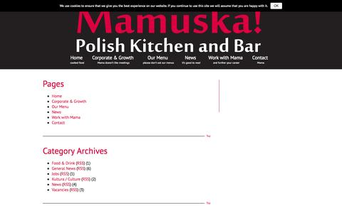 Screenshot of Site Map Page mamuska.net - Sitemap | Mamuśka! - Polish Kitchen and Bar - captured Oct. 4, 2014
