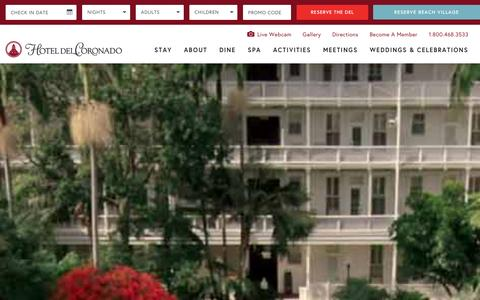 Screenshot of Home Page hoteldel.com - Hotel del Coronado | Coronado Hotel | San Diego Resorts - captured Jan. 25, 2016