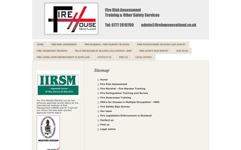 Screenshot of Site Map Page firehousescotland.co.uk - Fire Risk Assessment Training Safety Services Glasgow Edinburgh - captured June 6, 2017