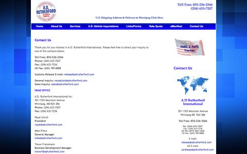 Screenshot of Contact Page Locations Page adrutherford.com - A.D. Rutherford International - Customs Brokers, Consultants & Freight Forwarders - Contact Us - captured Sept. 25, 2017