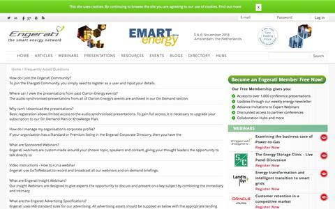 Screenshot of FAQ Page engerati.com - Frequently Asked Questions | Engerati - captured Oct. 2, 2014