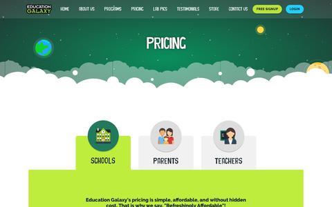 Screenshot of Pricing Page educationgalaxy.com - Learning solutions pricing | Education Galaxy - captured Nov. 4, 2018